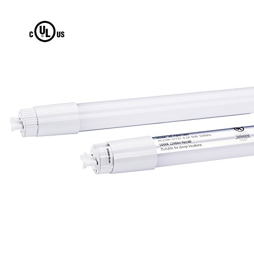 4FT T8 LED Light Tube Fixture 18W Dual-Ended Power Fluorescent Shop Light Tube Replacement, 5000K Cool White Frosted Cover, UL & DLC (1 Pack)