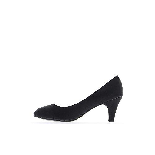 Escarpins femme grandes tailles noirs à talons de 7,5cm