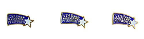 Gold Toned and Enamel Star Performer Scholastic School Achievement Award Lapel Pin, Pack of 3