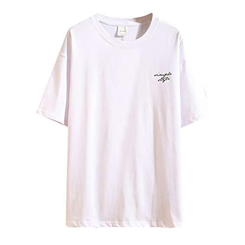 Men's Casual Slim Fit Short Sleeve Crew Neck T-Shirts Cotton Blend Shirts White