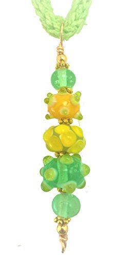 Art Fusion Jewelry Green and Yellow Glass Lampwork Bead Pendant with Silk Cord Necklace and Matching Earrings