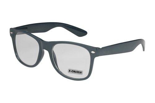 Nerd Brille ohne Stärke Vintage Retro Style Stil Klarglas Hornbrille Modebrille Streberbrille anthrazit