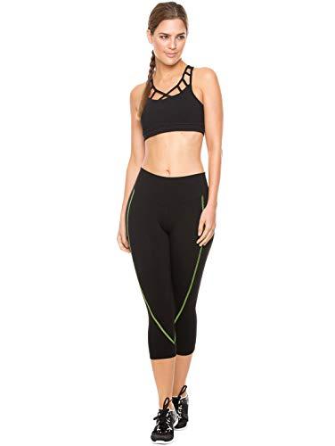 Flexmee Yoga Activewear Clothing Gym Workout Capris for Women Fitness Supplex Sports Leggings Capri Pants Pantalones Deportivos Capri Mujer Black S (Gym Supplex Pant)