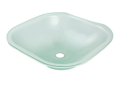 DECOLAV 1139U-FNG Translucence Square 12mm Undermount Glass Bathroom Sink, Frosted Natural Glass Decolav Tempered Frosted Glass