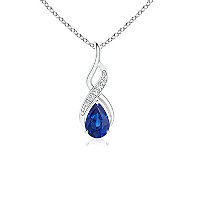 Angara Pear Shaped Blue Sapphire Drop Pendant in White Gold(6x4 MM) wUw1HsvyI