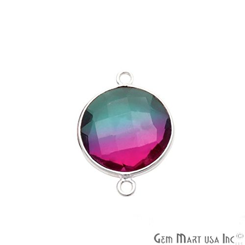 GemMartUSA Green and Pink Round Shape Doublet Quartz 14mm Silver Plated Double Bail ()