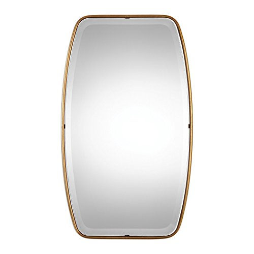 (Curved Oval Gold Thin Frame Wall Mirror | Tall 36