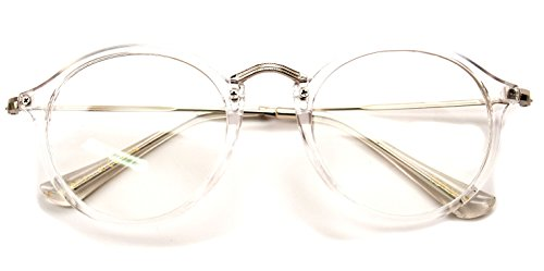 V.W.E. Vintage Inspired Metal Bridge Clear Lens Glasses (Clear, - Frames Clear Prescription