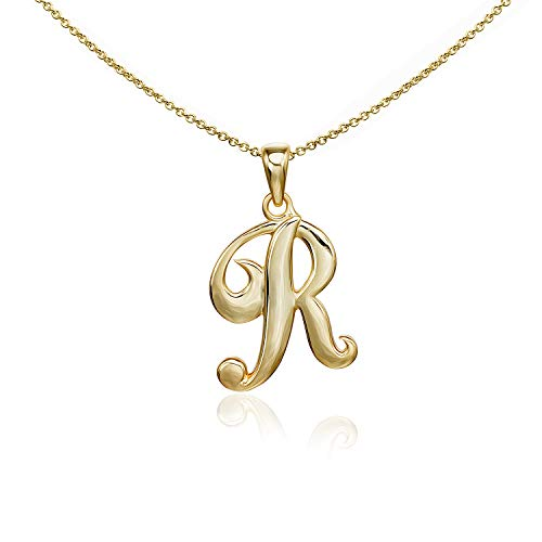 (Sea of Ice Yellow Gold Flashed Sterling Silver Initial Alphabet Letters R Pendant Necklace, 18 inch)