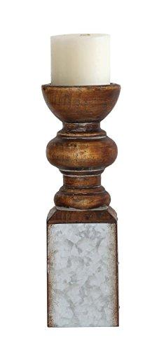 Creative Co-op DA5890 Small Metal and Wood Pillar Holder