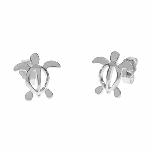 Sterling Silver 12mm Honu Stud Earrings (Sterling-Silver)