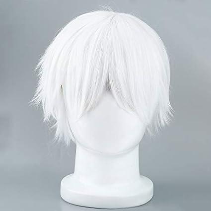 Peluca blanca masculina para Cosplaying Anime Characters Pelucas sintéticas cortas rectas