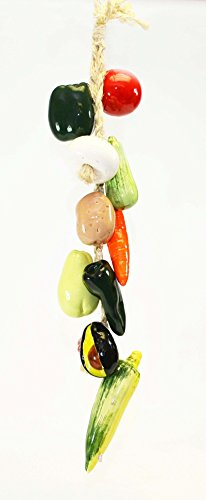 LARGE RISTRA/STRING OF CERAMIC VEGETABLES, WITH 11 VEGGIES-30 Long