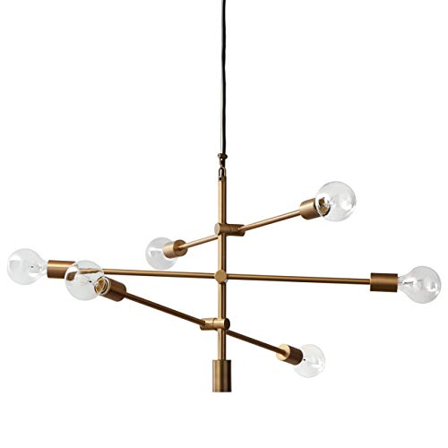 Rivet Mid Century Modern 6-Light Ceiling Pendant Chandelier Fixture – 29.3 x 6.5 x 80 Inches, Brass