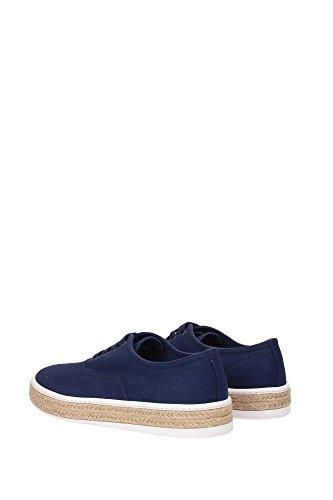 Prada Mens Skor Bomulls Utbildare Sneakers Borra Blu