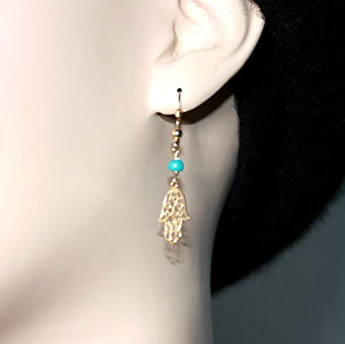Gold Filigree Hamsa Hand Earrings, Small Natural Turquoise Stone Bead Dangle Jewelry, Evil eye Protection Jewellery, Delicate khamsa Pendant, Dainty Earrings, Women Gift from Israel