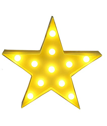 ZEKUI Star Shaped Sign-Lighted LED Star Marquee Sign Wedding Party Nursery Room Decor(Yellow Star)]()