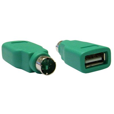 Green, USB to PS/2 Keyboard/Mouse Adapter, USB Type A / MiniDin6 ( 100 PACK ) BY NETCNA