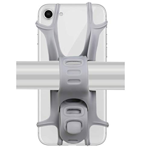 Ailun Bike Silicone Strap Phone Mount Holder,Universal Adjustable Bicycle Motorcycle Handlebar Rack Compatible iPhone 8Plus/8/7Plus/7/6S,Galaxy S9/S9+,S8+/S8/S7/S6 and All Other Devices[Grey]