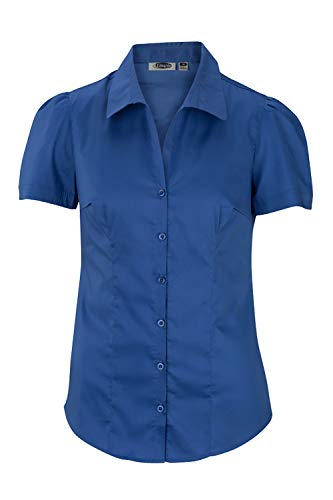 Edwards Women's Rounded Collar Short Sleeve Blouse, French Blue, 4XL ()