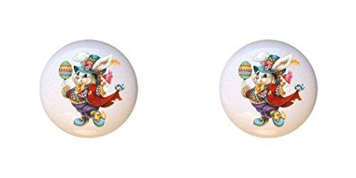 SET OF 2 KNOBS - Easter Bunny Design #101 - Easter - DECORATIVE Glossy CERAMIC Cupboard Cabinet PULLS Dresser Drawer KNOBS