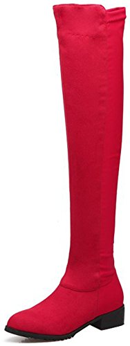 Easemax Women's Comfy Round Toe Low Block Heels Faux Suede Over Knee High Boots With Side Zipper Red GbAXfT