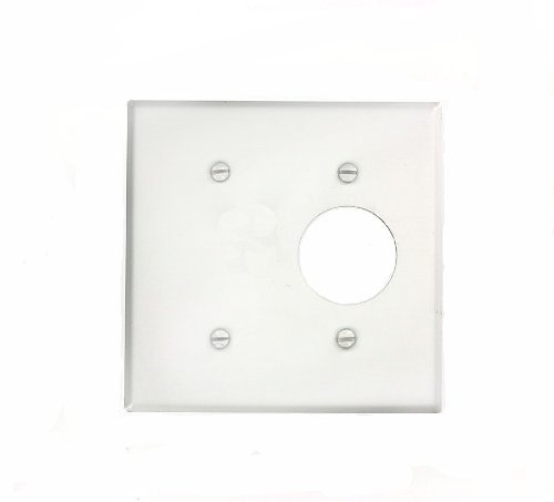 Leviton 88085 2-Gang 1-Blank 1-Single 1.406-Inch Diameter, Device Combination Wallplate, Painted Metal, Strap Mount, White