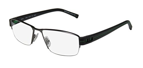 Oga 7922o Mens Designer Half-rim Flexible Hinges Eyeglasses/Spectacles (54-16-135, Gunmetal / Black / - Half Spectacles