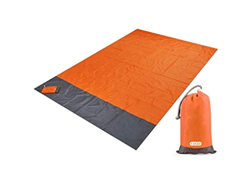 xczwx Pocket Picnic Waterproof Beach Mat Sand Blanket Camping Outdoor Folding Cover Bedding,Orange,200x140cm
