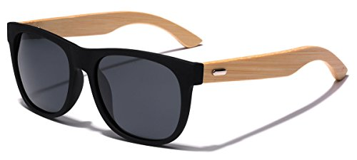 Polarized Classic Horn Rimmed Sunglasses with Bamboo Wood - Temples Wood