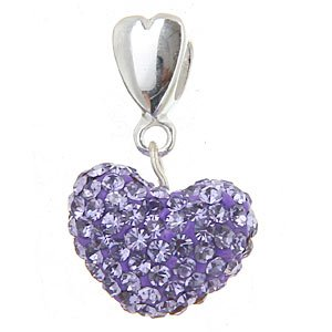 Everbling Love Double Heart with Pave Purple Austrian Crystal Dangle 925 Sterling (Austrian Crystal Dangle Bracelet)