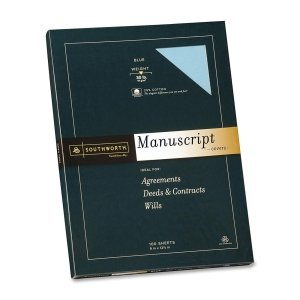 Southworth 41SM Credentials Collection Manuscript Cover 30lb Stock 9 x 12-1/2 Blue 100/Box