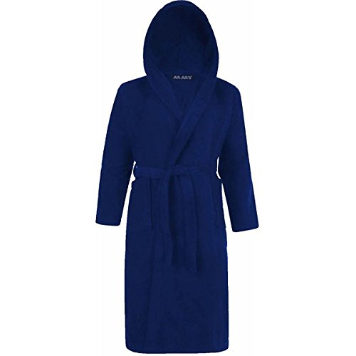 Kids Boys & Girls 100% Cotton Terry Towelling Hooded Shawl Collar Bathrobe Dressing Gown Bath Robe