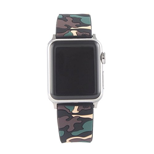 Ltrotted Quick Release Replacement Watch Band Soft Silicone Camouflage For Apple 42MM (E)