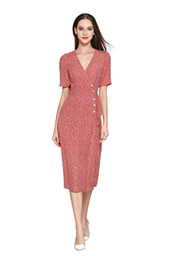 Little Smily Women's 1940s Vintage Small Floral Print Button Front Midi Wrap Dress Short Sleeve (8, Brick Red -