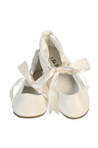 Ballerina Ribbon Tie Rubber Shoes Cinderella Flats with Flower Toddler Party Ivory Size 5 -