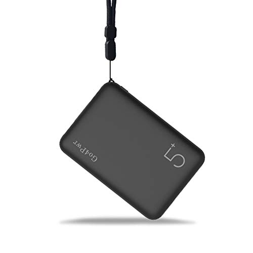 Go4Pwr Pocket Size Portable Phone Charger with 2 Output and 2 Input Ports Mini Power Bank 5000mAh Portable Charger with Black Lanyard Compatible with Smart Phones(Black)