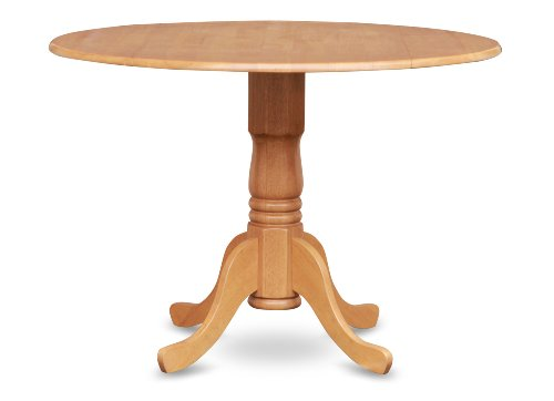 East West Furniture DLT-OAK-TP Round Table with Two 9-Inch Drop Leaves (Dinette Round)