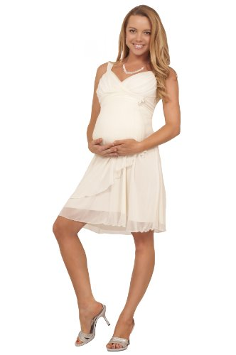 Maternity Formal Chiffon V Neck Sleeveless Empire Waist Rhinestone Party Dress