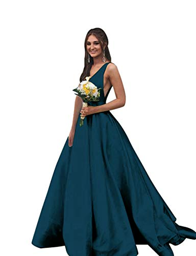 (Rjer V Neck Prom Dresses Long Stain Evening Ball Gowns for Women Formal 2019 with Pockets Teal)