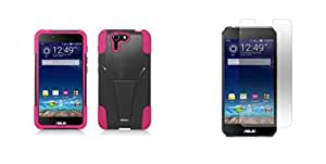 ASUS PadFone X - Black & Hot Pink Dual Layer Impact Defender Shockproof Armor Kickstand Cover Case + Atom LED Keychain Light + Screen Protector