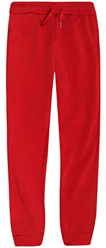 - RANGE Boys Basic Solid Fleece Jogger Active Pants with Pockets, Red, Size Large / 14-16'