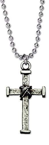 Nail Cross Necklace with Wrapped Wire Accent Silver Pewter Gift Box