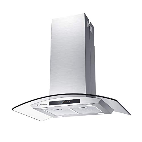 Stainless Steel Hood, CIARRA 36 inch Island Mount Glass Range Hood with Touch Control Panel, Ducted/Ductless Convertible Kitchen Stove Vent Hood with 3 Speed Motor & Dishwasher Safe Mesh Filters