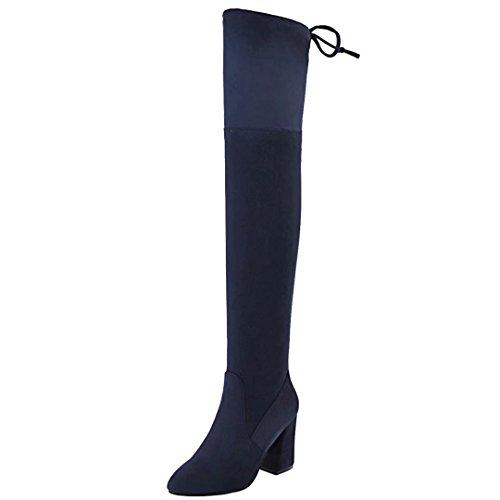 AIYOUMEI Damen Stretch Overknee Stiefel mit 8cm Absatz Blockabsatz Langschaftstiefel Schuhe Blau