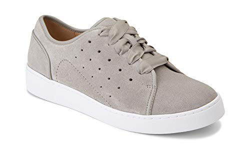 Vionic Women's Splendid Keke Lace-up Sneakers - Ladies Walking Shoes Concealed Orthotic Arch Support Light Grey Suede 9 M US