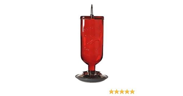 Red Perky-Pet 8109-2 Antique Glass Bottle Hummingbird Feeder-16-Ounce Capacity