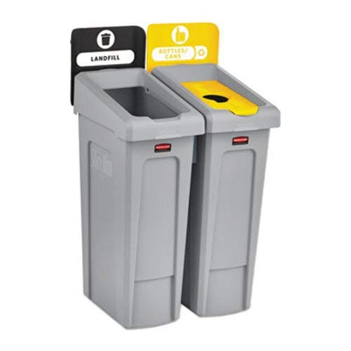 (Rubbermaid Commercial Products 2007916 Slim Jim Recycling Station, 2 Stream Landfill/Bottles Cans )