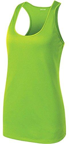 Joe's USA(tm) Ladies Athletic Moisture Wicking Racerback Tank Top-Lime Shock-S