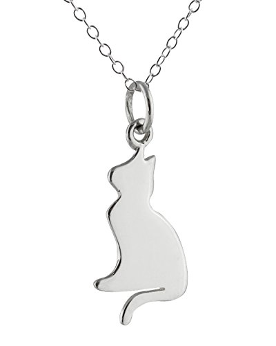 Sterling Silver Cat Silhouette Charm Pendant Necklace, 18 Inch Chain